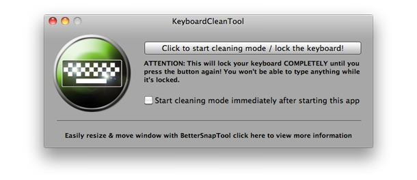 KeyboardCleanTool ui